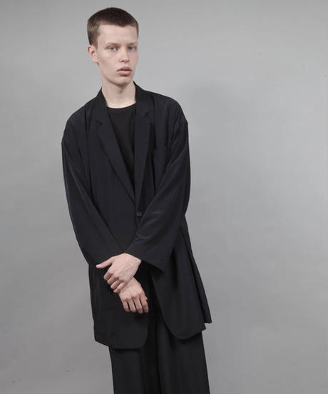 minimal shirt jacket/BLACK