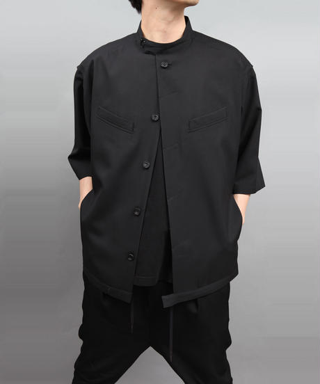 TROPICAL CLOTH SHIRT BLOUSON  BLACK