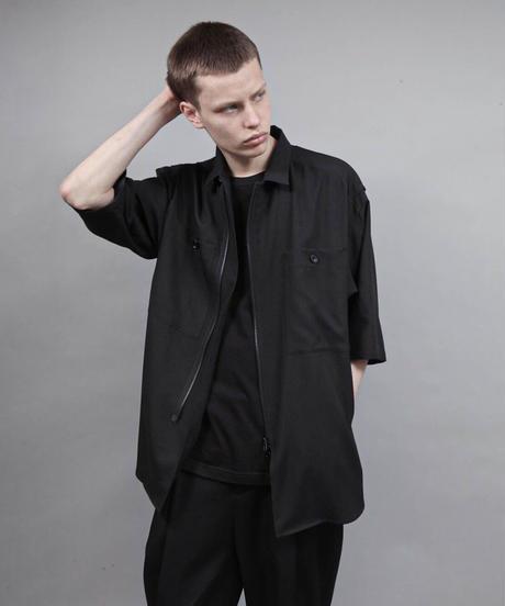 zipup short sleeve shirt/BLACK