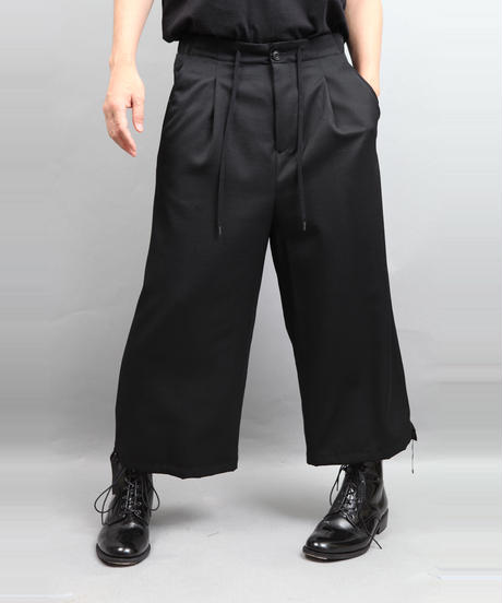 DRAW CODE WIDE PANTS BLACK