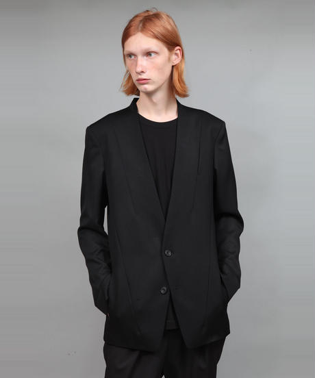 WOOL TWILL NO-COLLAR JACKET/BLACK
