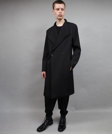 crease double short coat/BLACK