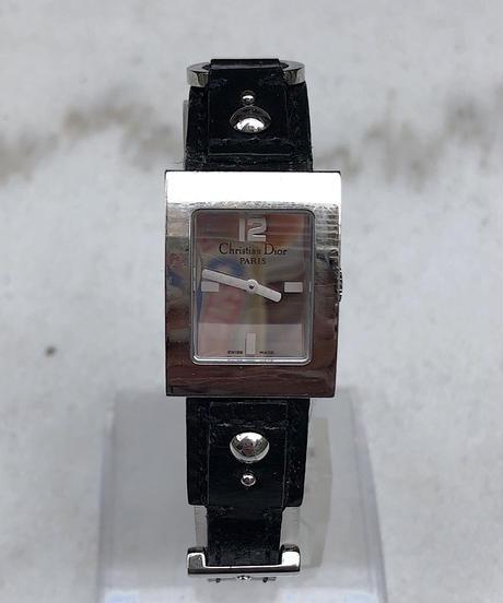 Christian Dior/ vintage black×silver quartz .099(P)
