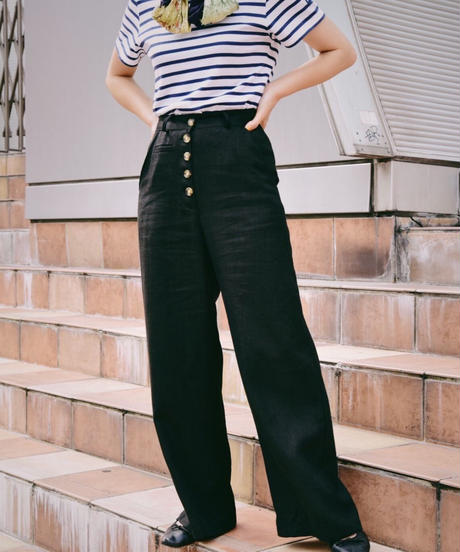 AURA/ linen marine pants .