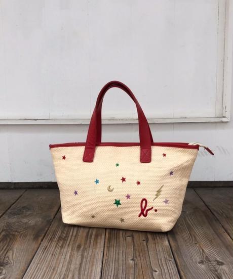 agnes b./ Straw embroidery hand bag.