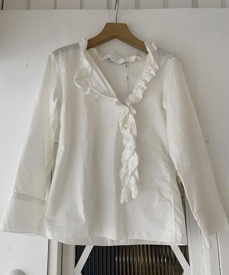 JIL SANDER  / vintage frill cotton shirt.