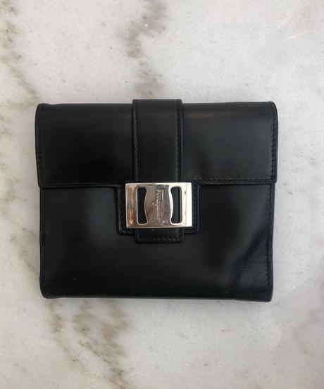 Salvatore Ferragamo/vara silver buckle wallet.