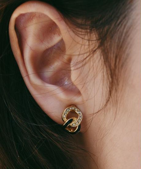 DIOR/stone design gold earrings