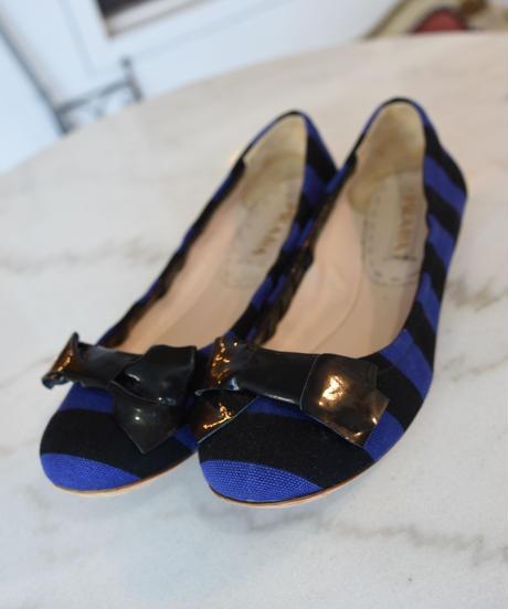 PRADA/ border ribbon flat ballet  shoes.