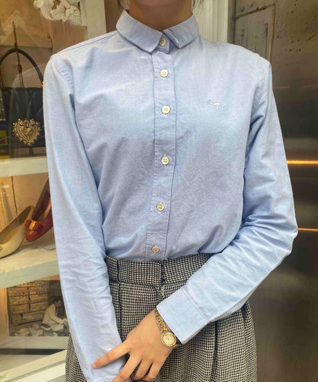 Maison Kitsune / vintage fox embroidery classic shirt.