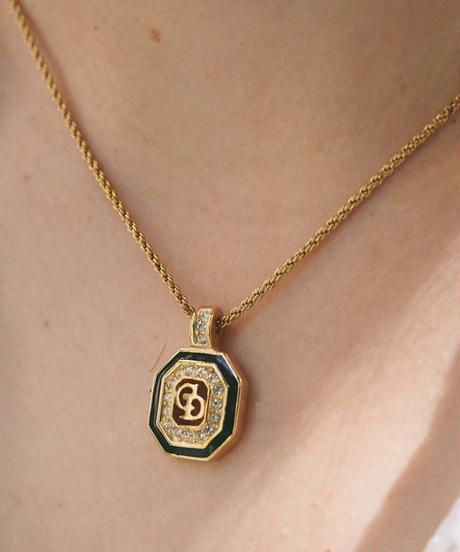 DIOR/logo stone necklace