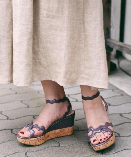 PRADA/ wedge sole wave sandal
