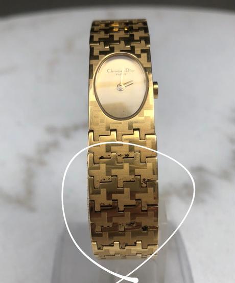 Christian Dior/ vintage gold design quartz .088(P)