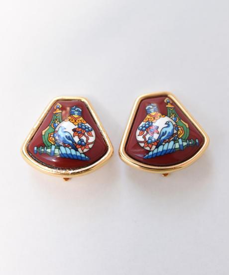 HERMES/ vintage cloisonne earring.