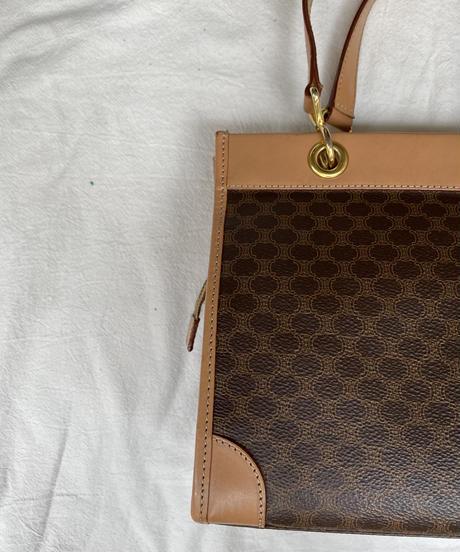 Celine / vintage macadam pattern square hand bag.