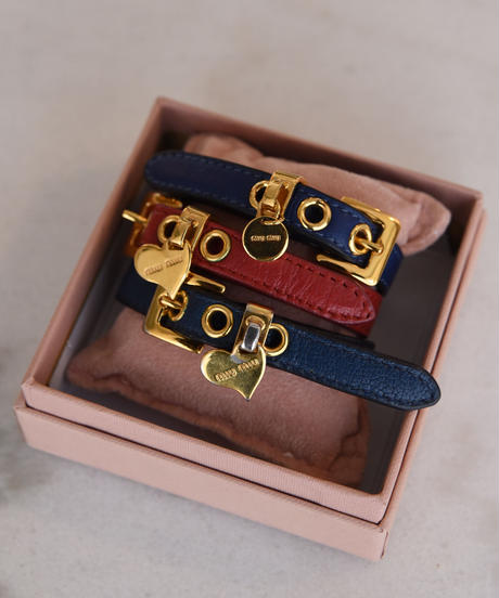 miumiu/ Leather belt bangle(3color)