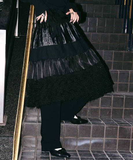 tricot COMME des GARCONS / wrap black skirt