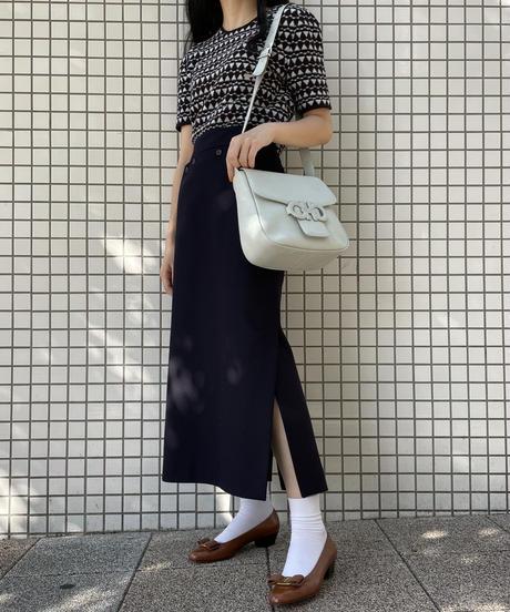 JIL SANDER NAVY/vintage design slit skirt.