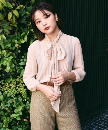 MaxMara/ see-through bow tie blouse.