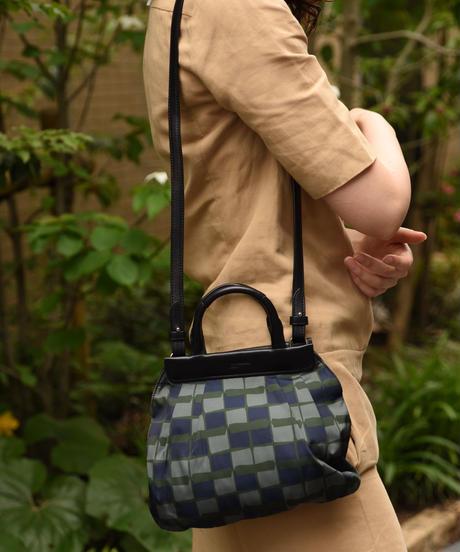 JIL SANDER / vintage green×navy design 2way bag.