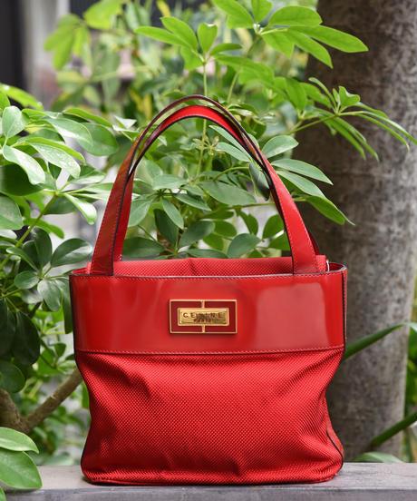 CELINE/enamel leather canvas handbag.