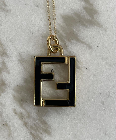 FENDI/ vintage logo black×gold necklace.