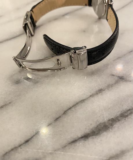 agnes b. / round design  leather belt quartz.