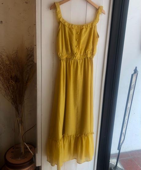 AURA / yellow frill cami-OP