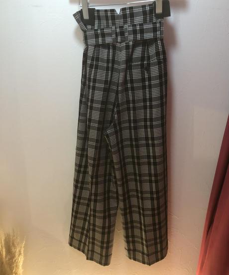 MAX MARA / vintage  check waist  ribbon design pants.