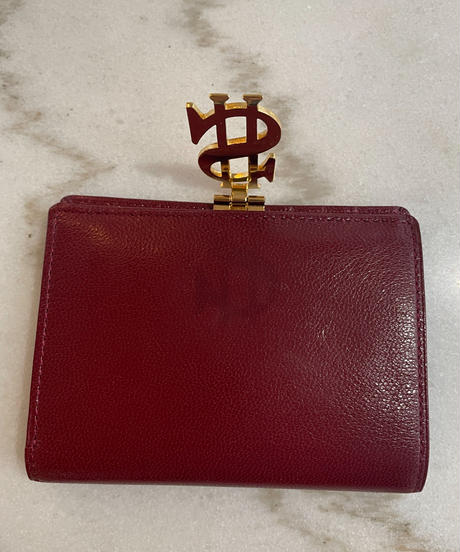 MOSCHINO / vintage leather dollar logo wallet.