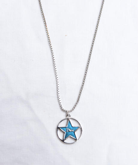 Christian Dior/ star motif silver necklace