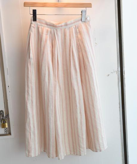 CalvinKlein/ stripe linen skirt