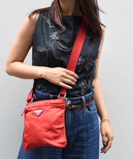 PRADA/ nylon shoulder bag (RED)