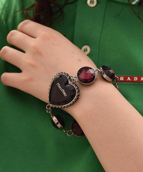 miu miu/vintage jewelry heart motif bracelet.