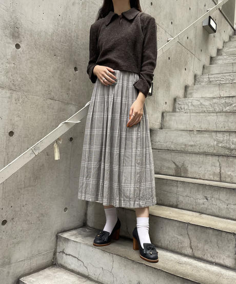 GIVENCHY Life/vintage check pattern pleats skirt.