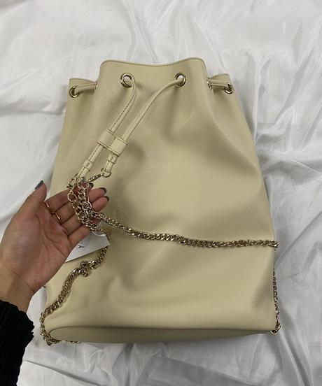 Max Mara / vintage gold chain backpack.