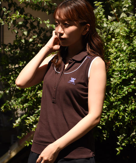 CELINE / vintage no sleeves polo shirt.
