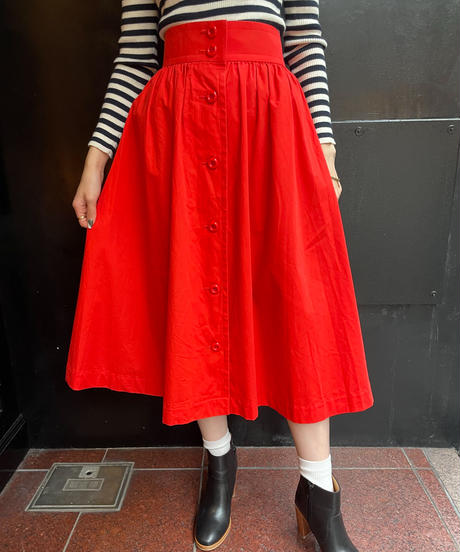 Yves Saint Laurent /vintage front button gather skirt.