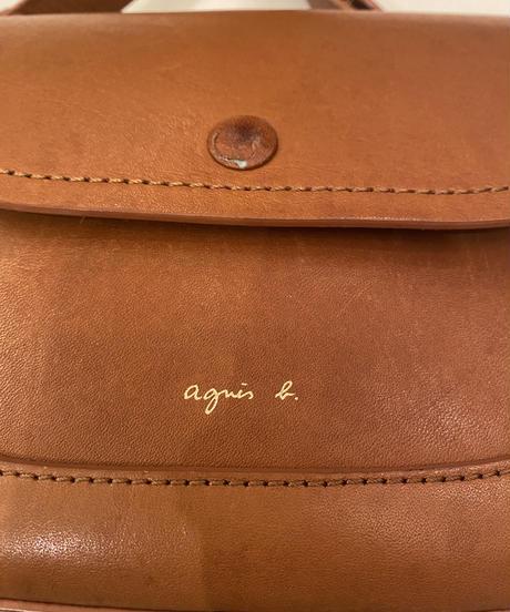 agnes.b /vintage brown  leather shoulder  bag.