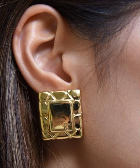 GIVENCHY/square  gold earrings