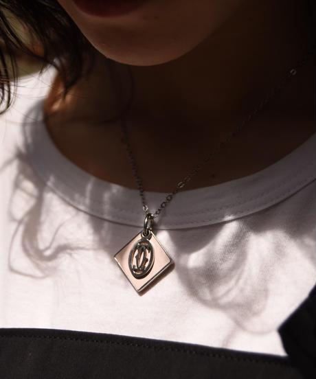 Cartier/vintage logo×rhombus charm necklace.