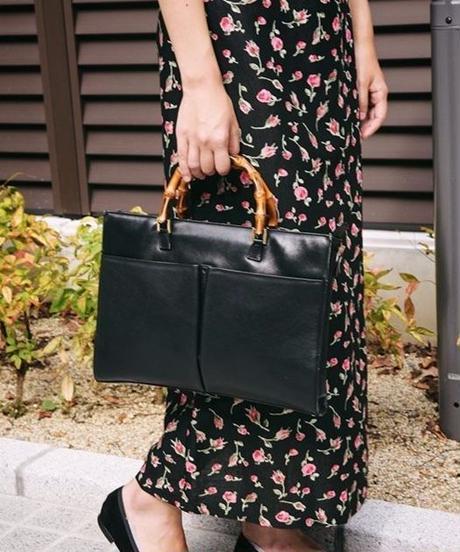 GUCCI/Banboo leather square handbag.