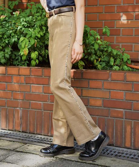 BURBERRY/ check line bootscut pants