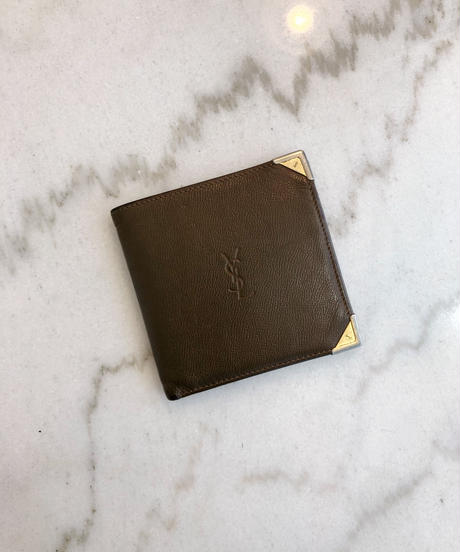 YvesSaintLaurent/ vintage logo leather wallet.
