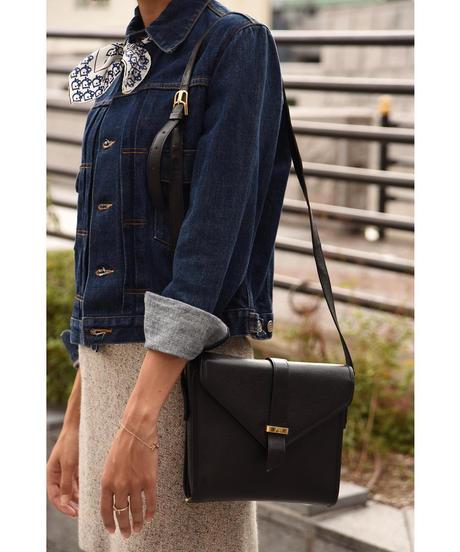 Yves Saint Laurent/  vintage square leather shoulder bag.