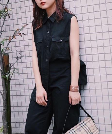 MaxMara/ linen no-sleeve shirt