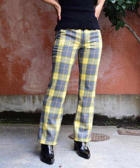 BURBERRY/ check design bootscut pants