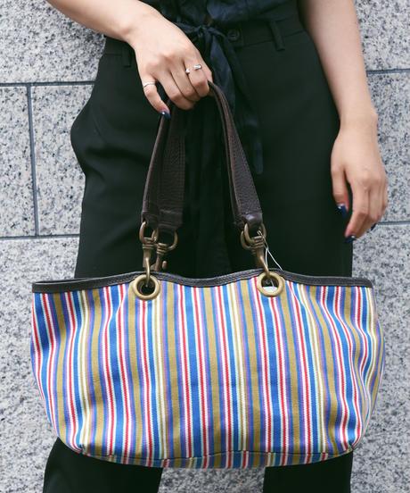 miumiu/ vintage leather canvas tote bag