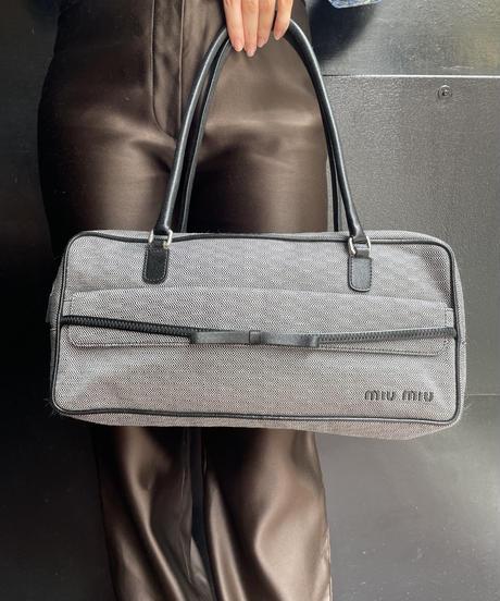 miu miu / vintage ribbon design hand bag.