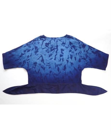 天然藍ガーゼ地ラグランブラウス1